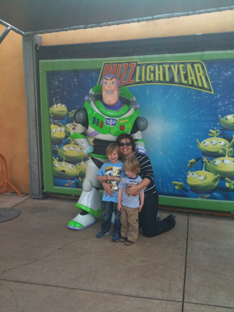 Liz Weston the Cambridge Mummy with her toddler boys and Buzz Lightyear at Disneyland Paris
